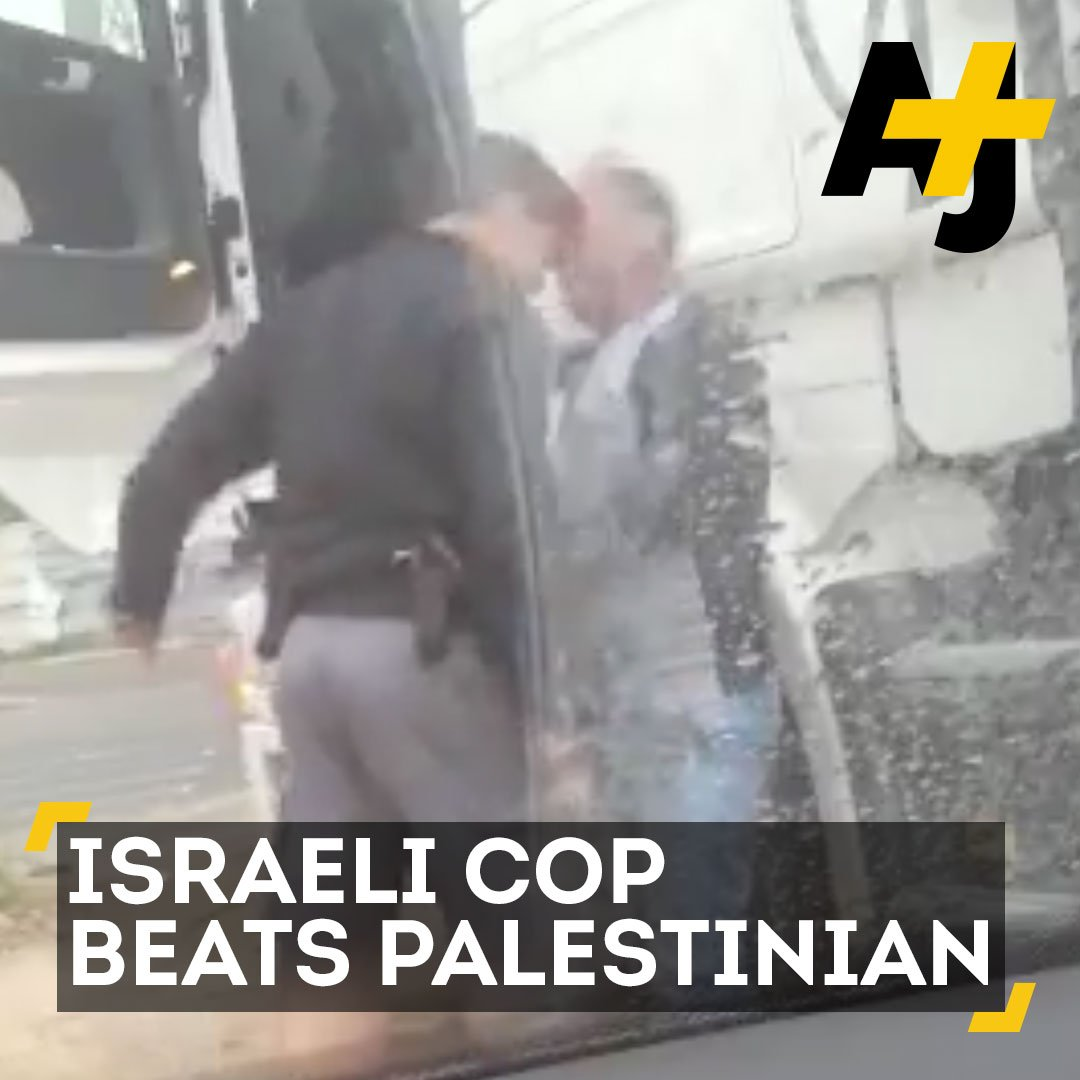 Israeli officer caught on video beating, headbutting and insulting a Palestinian man in East Jerusalem. via @AJPlus