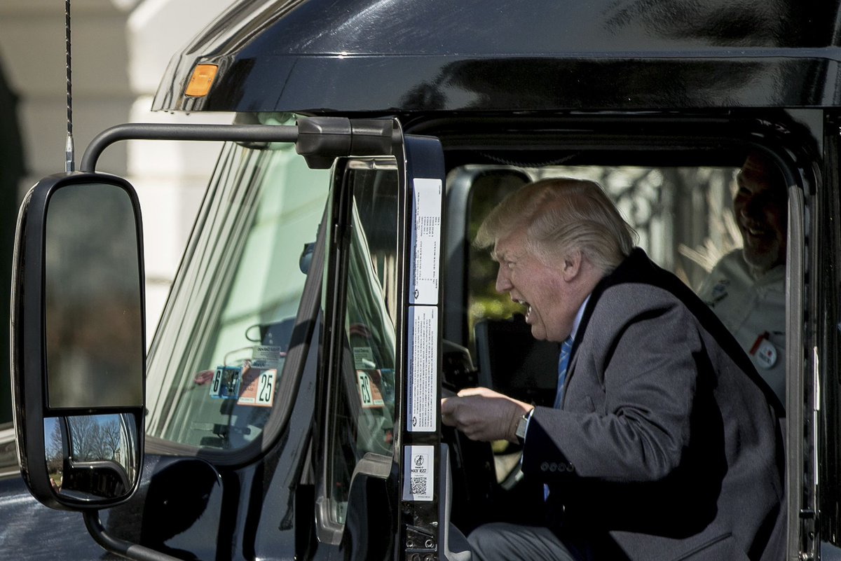Trump driving a truck becomes the internet's new favorite metaphor for America.