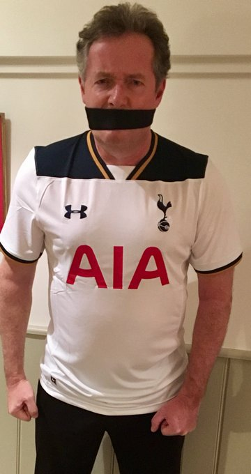 The best birthday present I could have asked for on my 70th, @piersmorgan gagged and wearing a Spurs shirt! @comicrelief @GMB