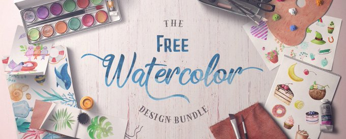 Wowza! This design bundle worth $168 is totally FREE! design watercolor freebie designer