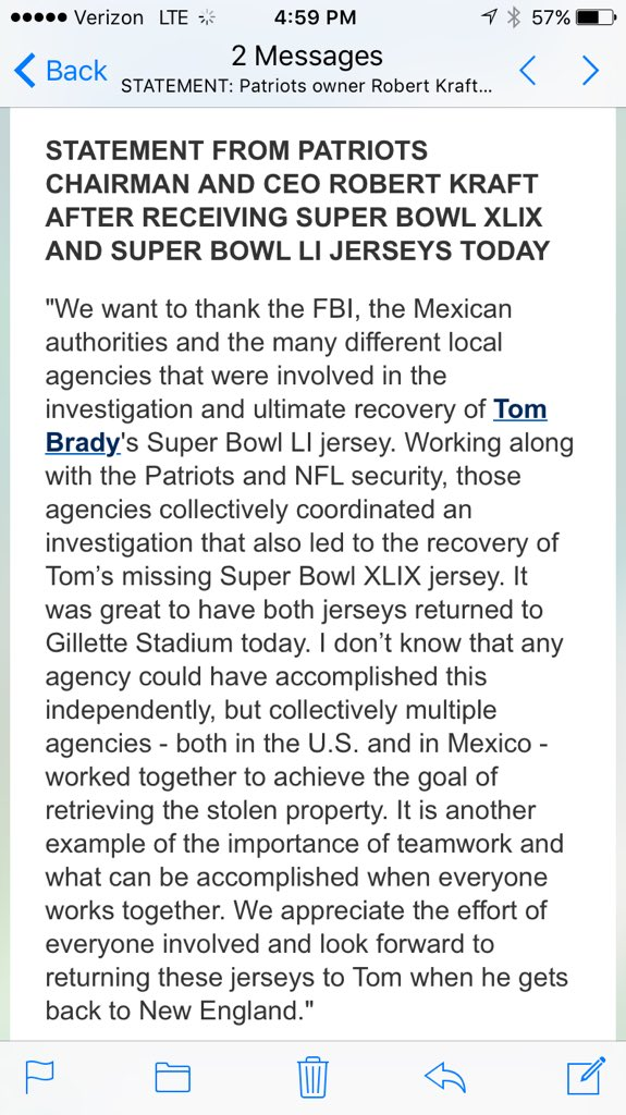 Statement from #Patriots owner Robert Kraft on the return of Tom Brady's two stolen Super Bowl jerseys