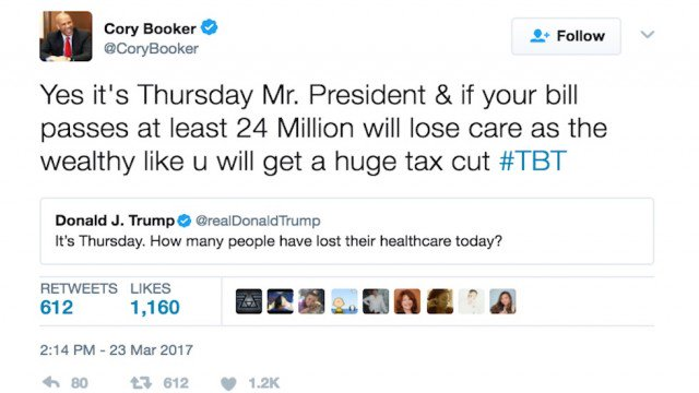 RT @thehill: Cory Booker trolls Trump with old healthcare tweet https://t.co/x8mRbn9Toc https://t.co/H86SrbXWGx