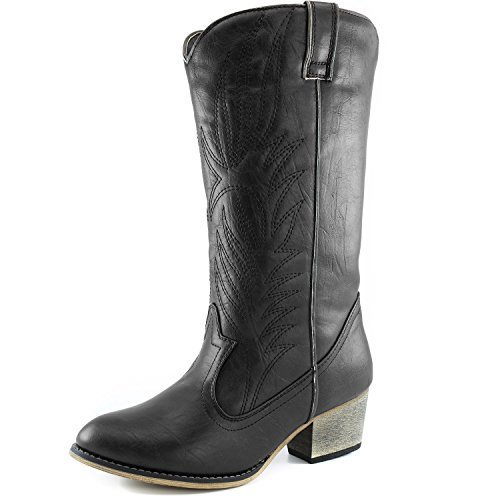 #fashion #shoes #running #free #style #giveaway #win DailyShoes Women's Embroidered Legend Western Cowboy Knee High Boot, Black w/ Side Pocket, 8.5 B(M) US #rt
