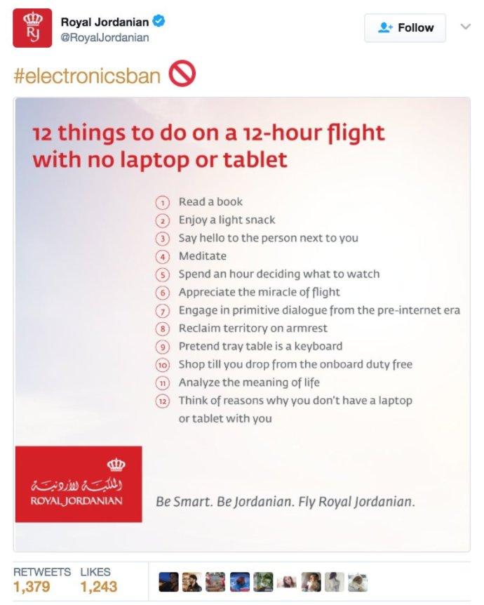 Royal Jordanian Air trolls Trump over laptop ban https://t.co/FZOaEIqqki