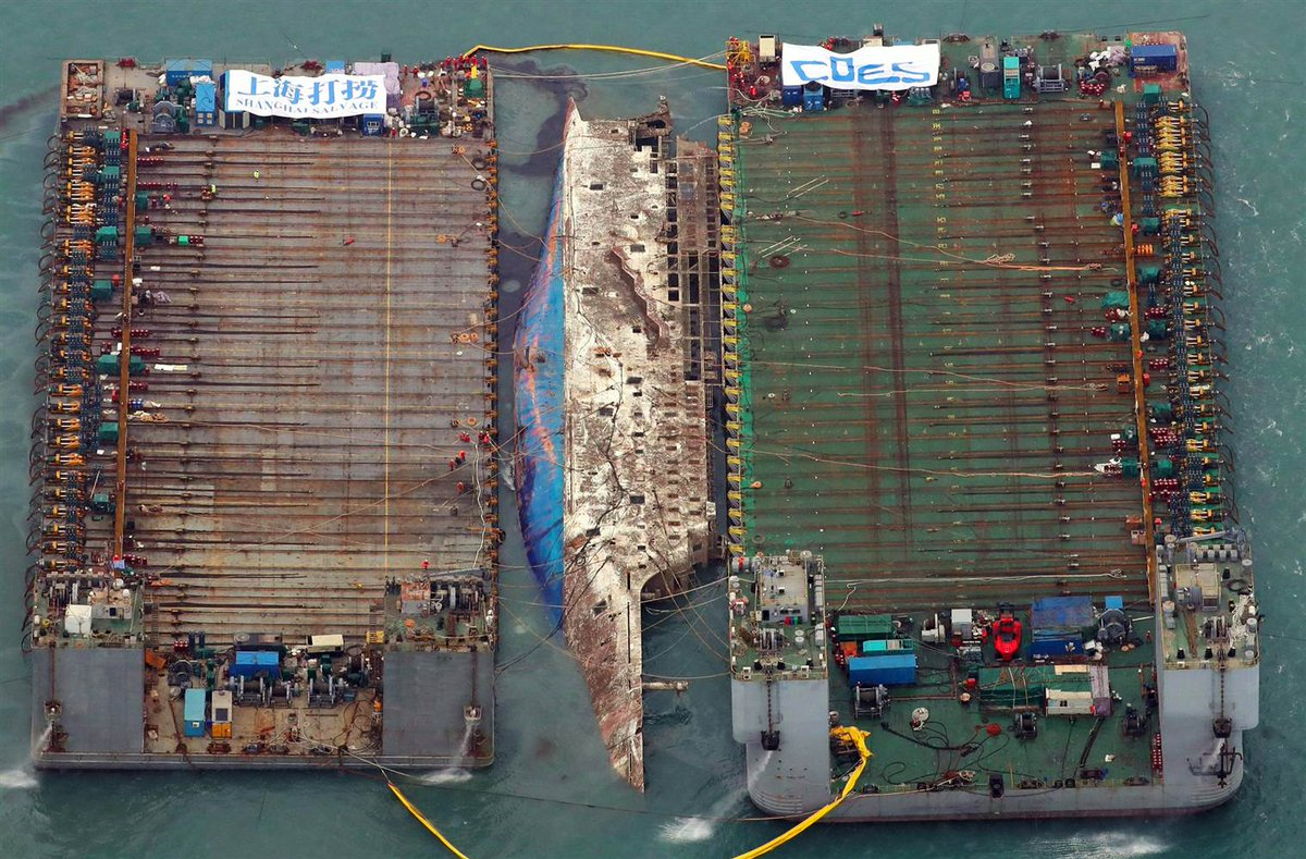 South Korean ferry, which sank in 2014, is being raised. https://t.co/a6aFH2qKr3