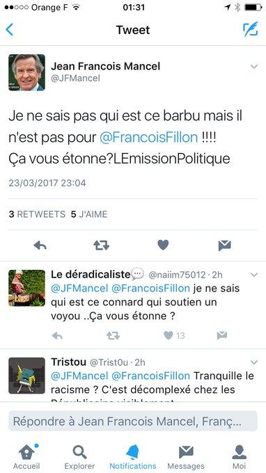 Le barbu, c'est moi @JFMancel... J'ose espérer que @FrancoisFillon dénoncera ce dérapage... #racismeordinaire