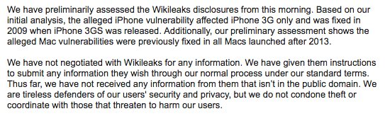 Apple statement on this morning's Wikileaks Vault 7 documents