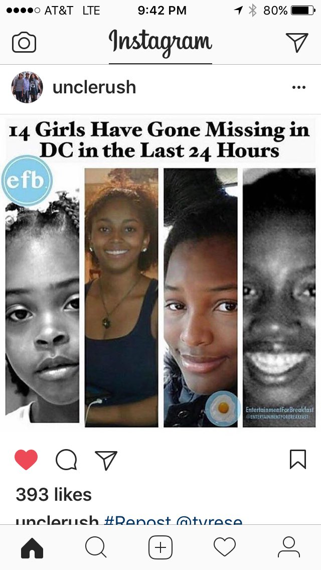 Can someone explain to me how 14 black girls go missing in 24 hours in DC and it's not a goddamn news story?!?