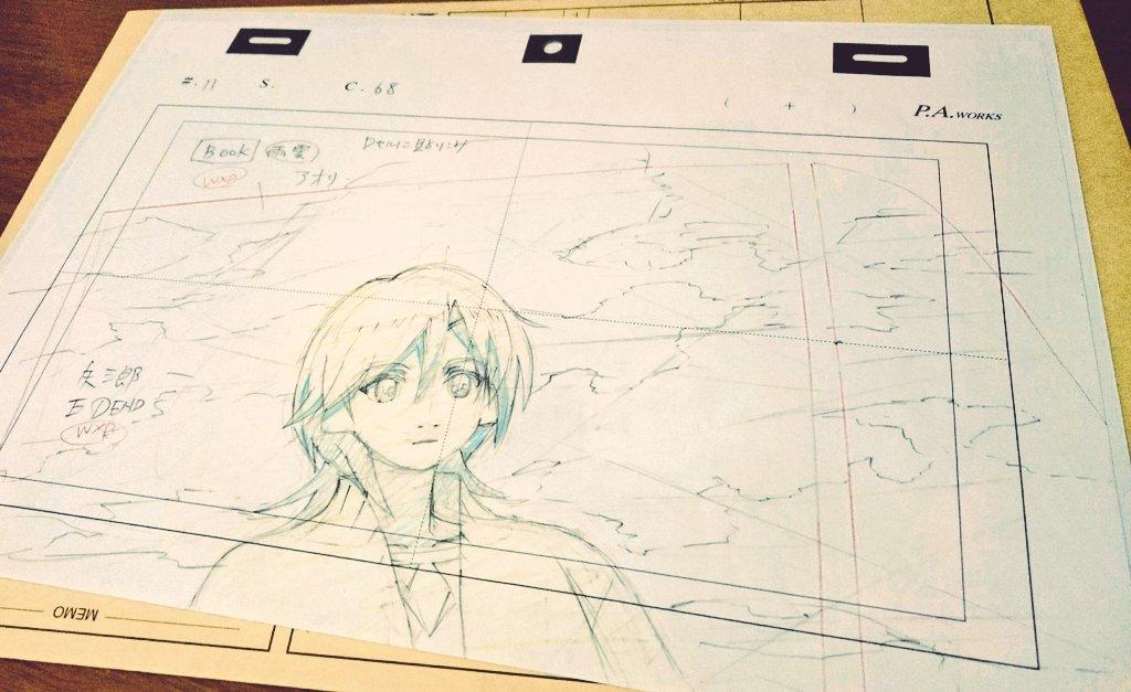 有頂天家族のBD-BOX届いた!生原画は矢三郎だ!やったぜ!おそらく11話の弁天様と車の窓越しに会話するシーンの、窓に写