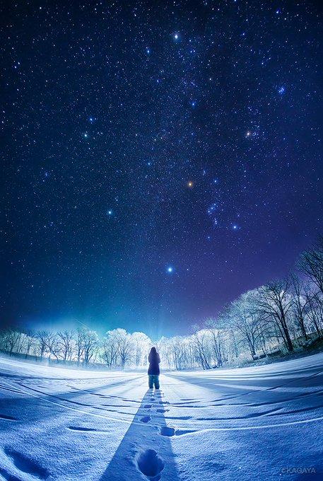 この冬のハイライトその1 凍結した湖を、凍てつく霧が通り過ぎてゆきました。 湖畔の灯りと霧が偶然作り出した幻想的な光景に目を疑いました。 仰ぎ見れば白く染まった木々の上、夜空の宝石たちが今にも落ちてきそうでした。(北海道塘路湖にて撮影)