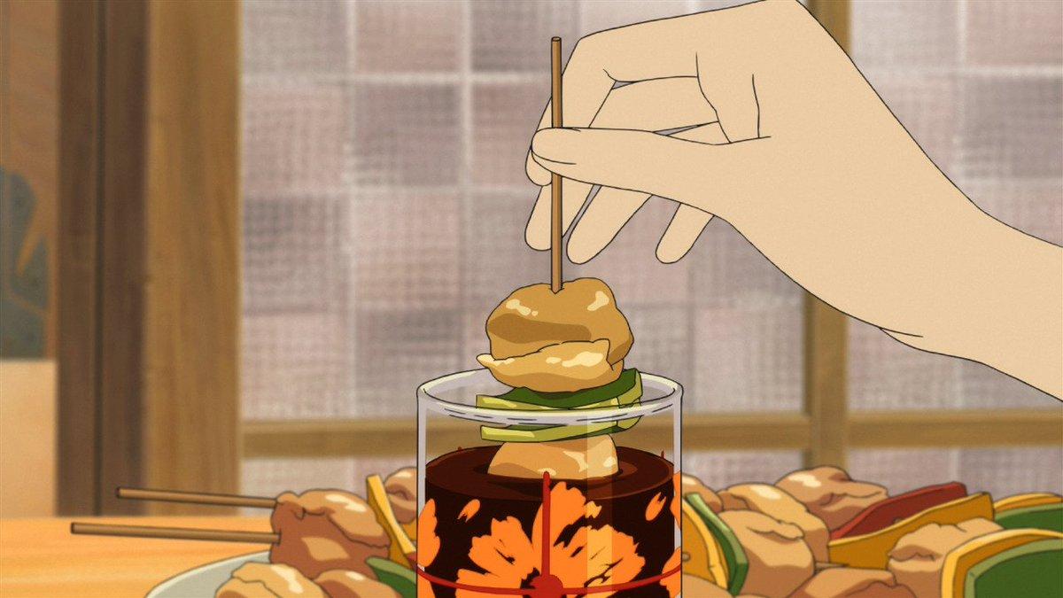 花が彼に披露した、コップにつける焼き鳥。長野県上田市に古くから伝わる「美味(おい)だれ焼き鳥」というものです。先月まで開