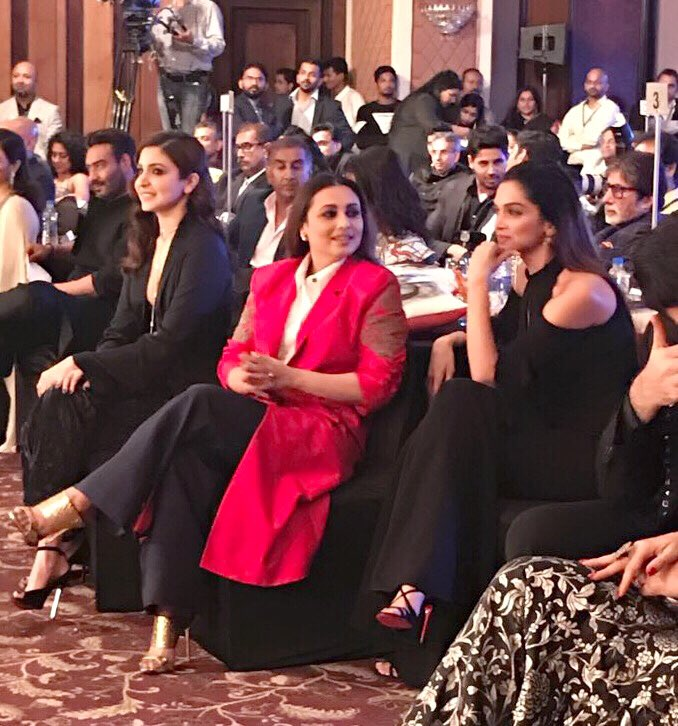 'Em gorgeous ladies at the #HTMostStylish this evening #RaniMukerji @AnushkaSharma and @deepikapadukone #Love