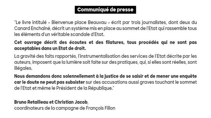 Communiqué de @BrunoRetailleau et Christian #Jacob : 'Nous demandons solennellement à la justice de se saisir'. #BienvenuePlaceBeauvau