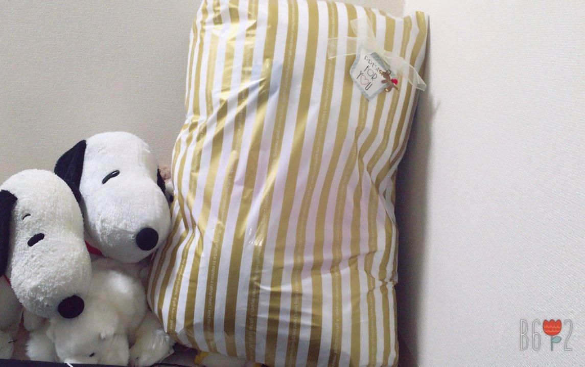 起きたら枕元に袋おいてあって開けたらめっちゃ大きいスヌーピーだったた!!!ずっと欲しいっていってて8ヵ月記念日にくれまし