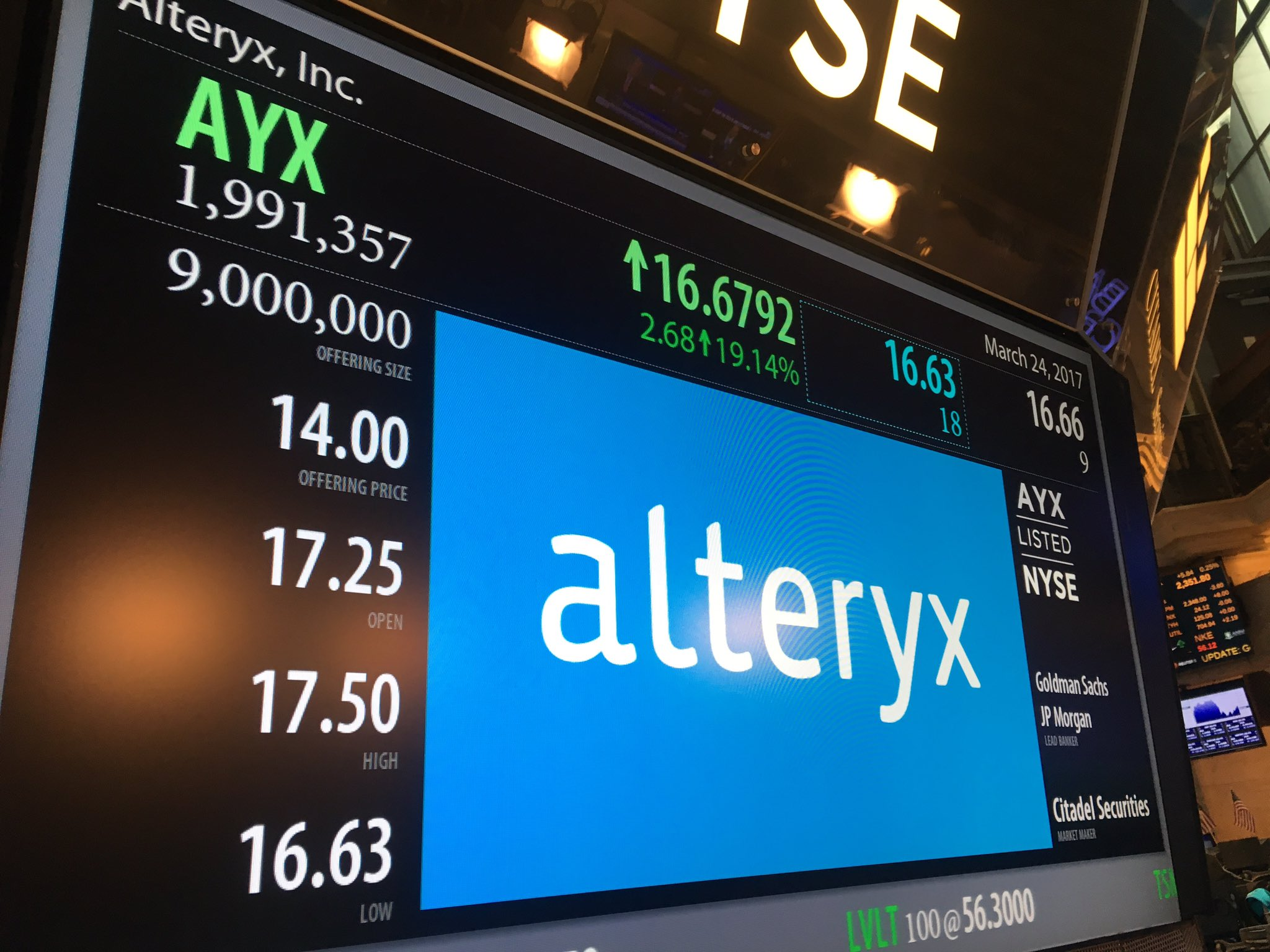 And @alteryx is officially open at $17.25 (NYSE: $AYX) https://t.co/sNPOW9jb5I