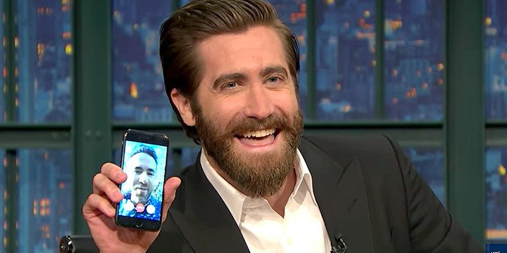 Jake Gyllenhaal proves the bromance is real and FaceTimes Ryan Reynolds on @LateNightSeth