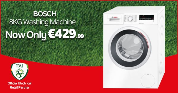 Look no further than this A+++ rated, 1400 spin, 8KG Bosch Washing Machine this weekend! - https://t.co/jE2T3T9X7Q https://t.co/BCJyv4pxdE