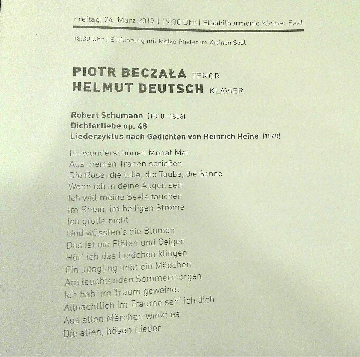 #Elbphilharmonie #Hamburg Liederabend  Piotr Beszala & Helmut Deutsch Programm https://t.co/C2lbJDGGTM