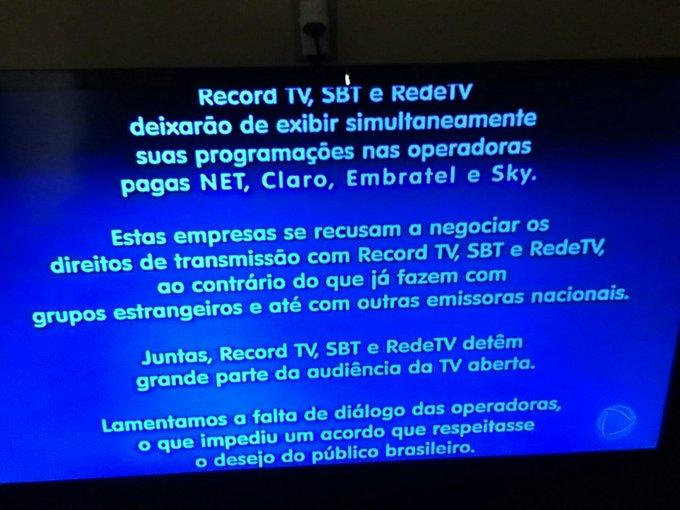 Record, SBT e RedeTV! criticam falta de diálogo e dizem que vão sair da TV paga --> https://t.co/M7sfHSEa20