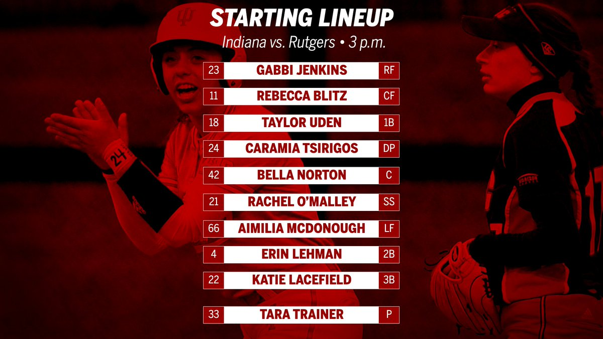 RT @IndianaSB: Starters for game one against Rutgers. #GoIU https://t.co/mPiQbgbNs1
