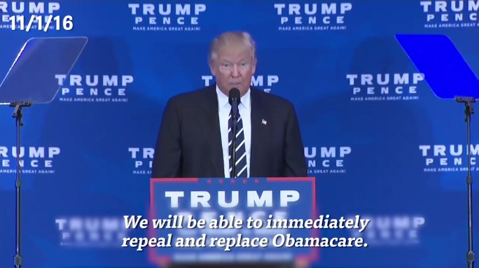 Trump, 11/1/16: 'We will be able to immediately repeal & replace Obamacare.' https://t.co/Xcuj4W4jVP https://t.co/Z3DK2h6fJn
