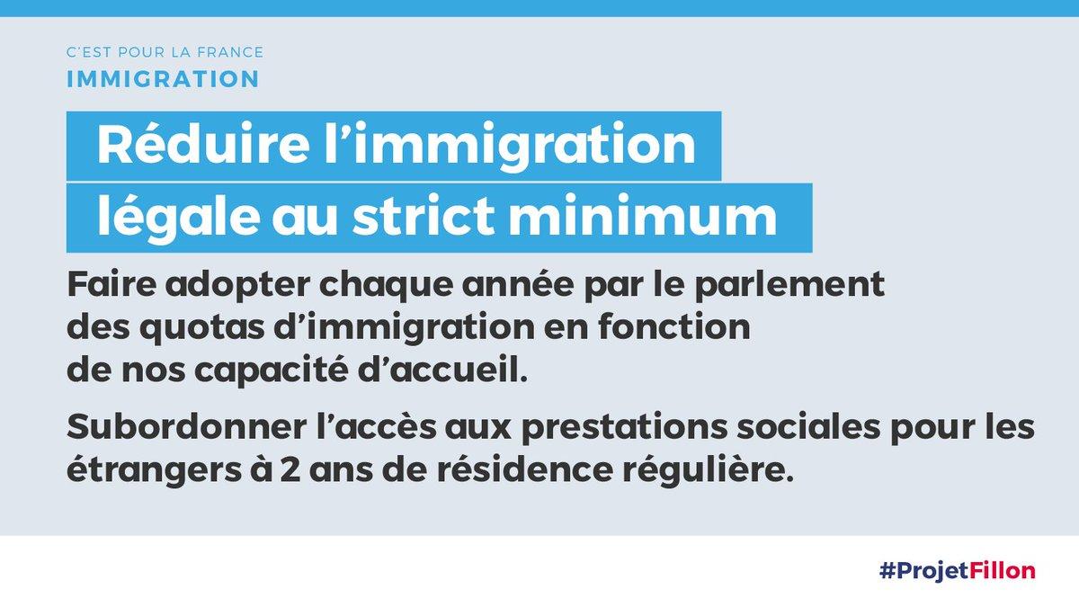 Avec 6 millions de chômeurs et 9 millions de pauvres, je veux une immigration légale réduite à son strict minimum. #FillonBiarritz