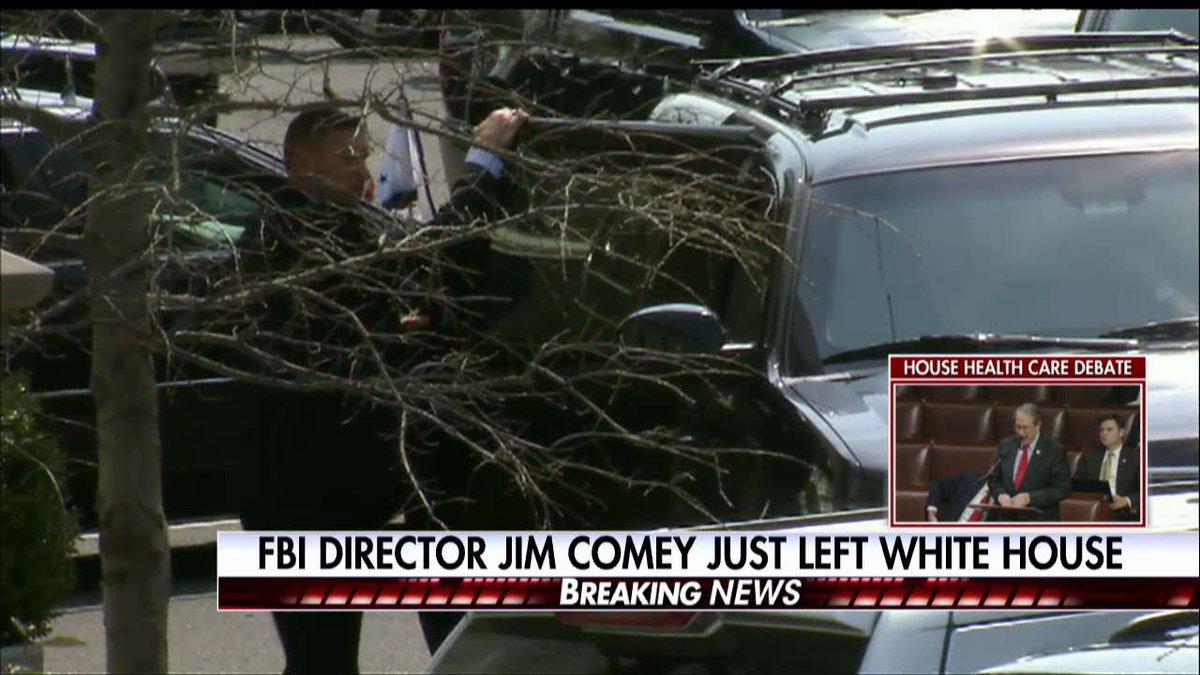 RT @FoxNews: News Alert: FBI Director James Comey just left the White House. https://t.co/uxXh9c99ql
