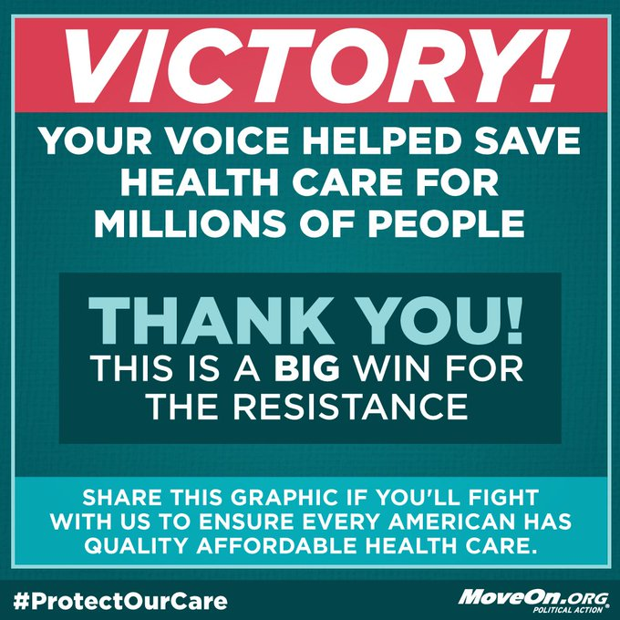 FIRST VICTORY TODAY! Your voice was heard to #KillTheBill & save health care for millions of Americans! The fight isn't over; keep fighting!