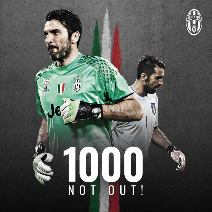 👏👏👏 Congratulations on your 1️⃣0️⃣0️⃣0️⃣ career appearances, @gianluigibuffon  💪💪 #G1G1000 #NumeroUno 🇮🇹⚪️⚫️