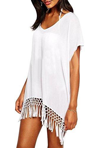 #fashion #free #style #win #giveaway Yonala Women's White Chiffon Fringe Beachwear Bikini Cover-Ups #rt