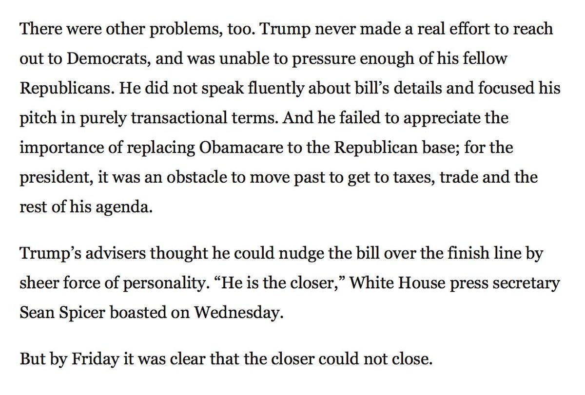 You can't govern by cult of personality. @costareports, @AshleyRParker, and @PhilipRucker on Trump's failure today. https://t.co/zl8PNijwV3