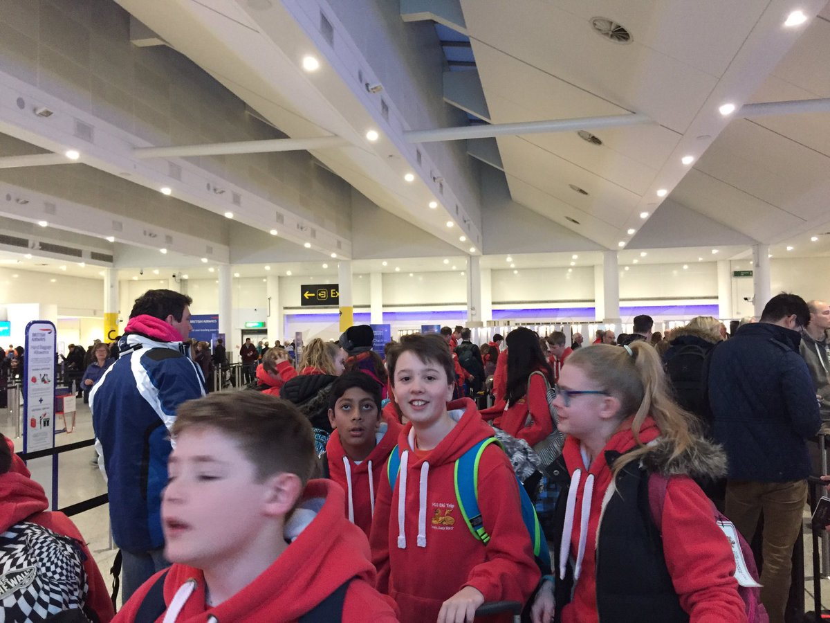 @PGS_1732 Year 8 ski trip at check in and still very excited. Italy here we come! https://t.co/rtLDtfUohw