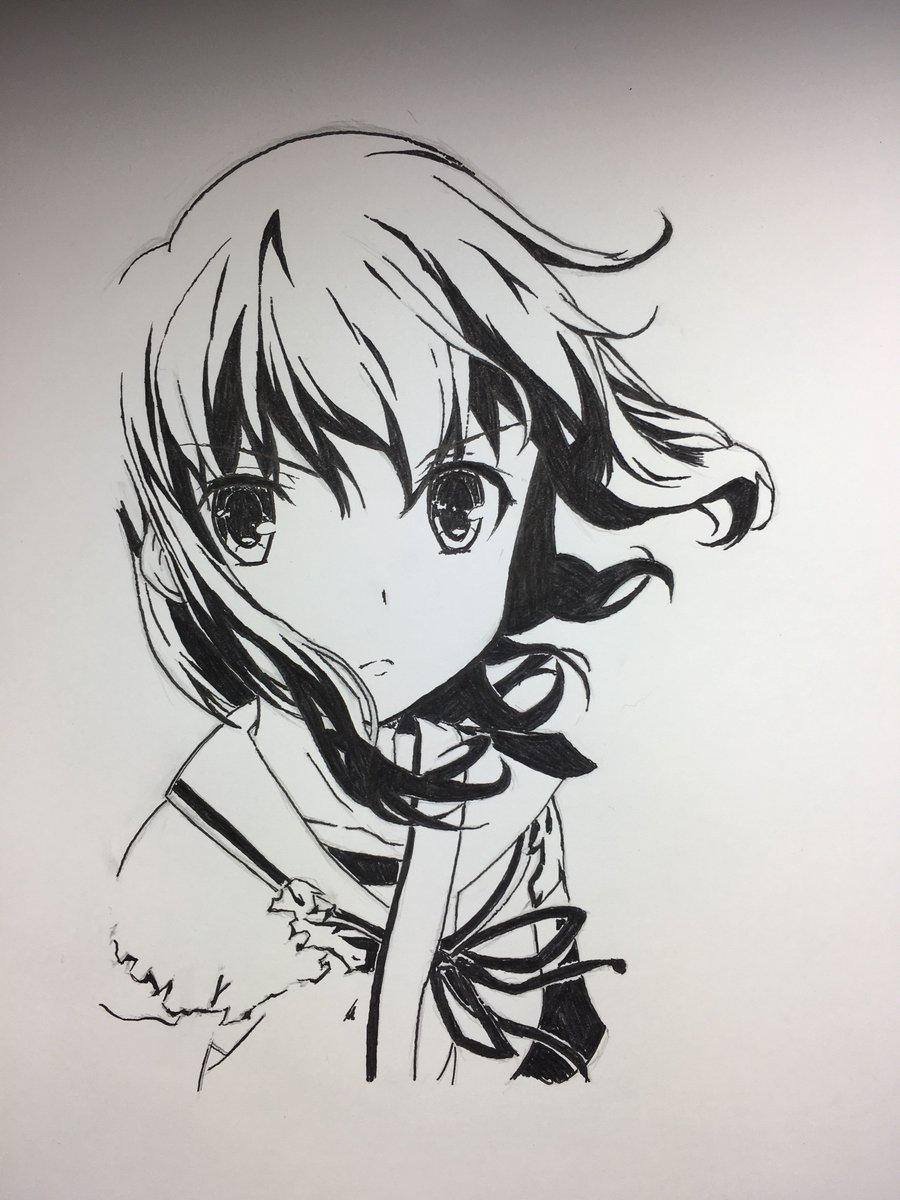 艦これの吹雪を筆ペンで描きました!