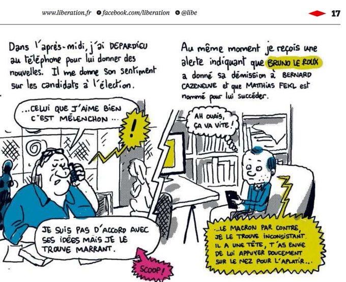 Où l'on apprend que Depardieu 'aime bien ' Mélenchon et trouve Macron 'inconsistant' (par @mathieusapin dans Libé).