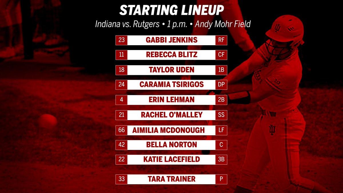 RT @IndianaSB: Lineup for game three against Rutgers. #GoIU https://t.co/bTdOFPBBGf