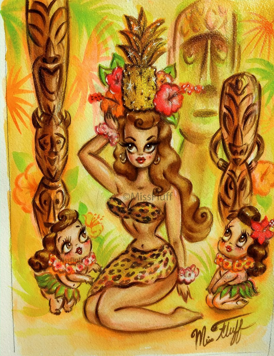 RT @Miss_Fluff: Pineapple pinup doll with Menehune hula girls. 🍍 Finished and off to her forever home! 🌺 https://t.co/mYo84c7BOd