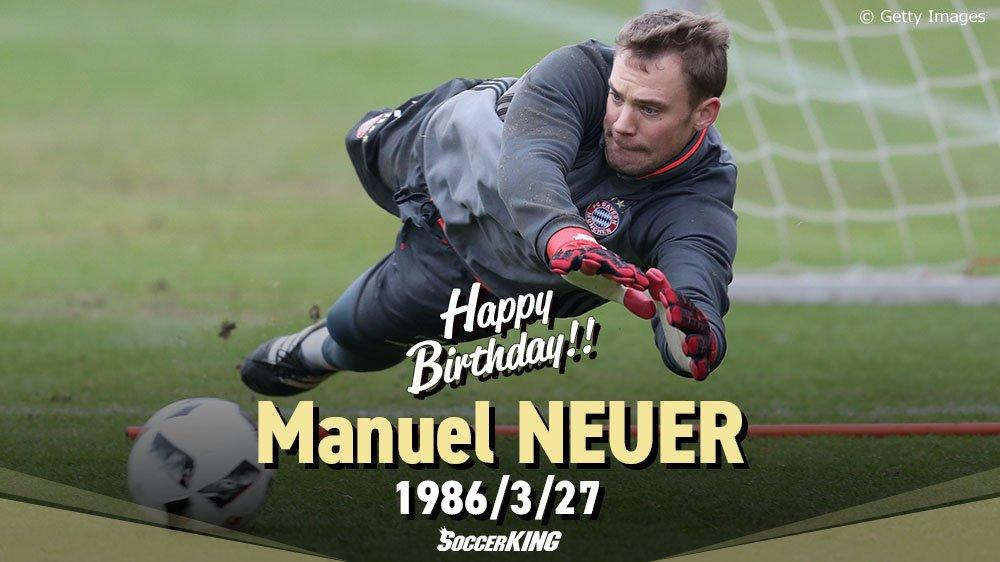 🎂🎊🎉HAPPY BIRTHDAY🎉🎊🎂 本日3月27日、 #バイエルン(@FCBayern)の #マヌエル・ノイアー (@Manuel_Neuer)が31歳の #誕生日 を迎えました。おめでとうございます! #サッカーキング https://t.co/cege88yhDA