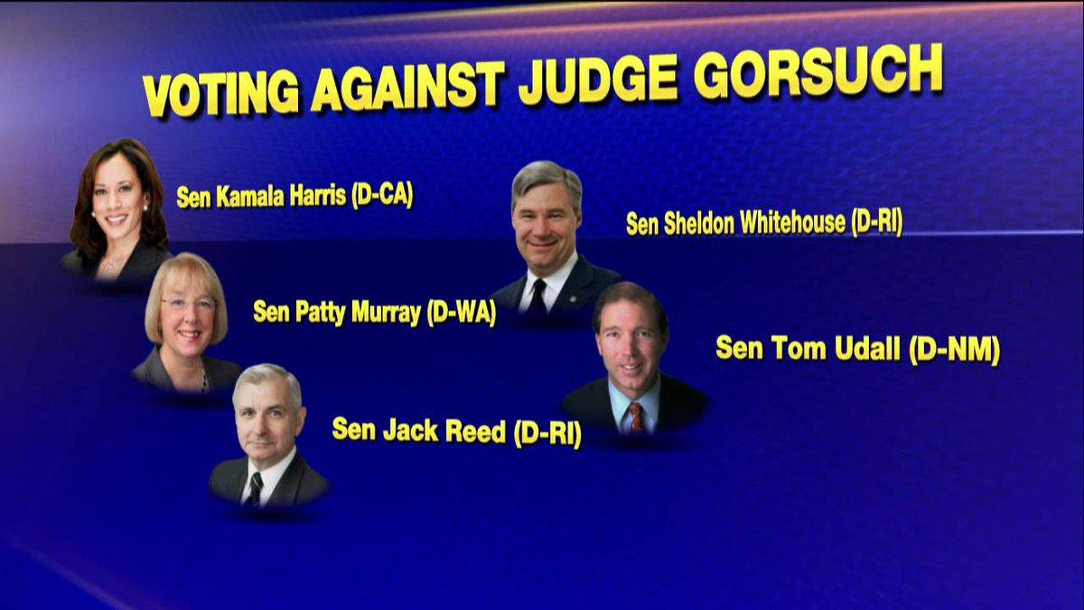 Voting against Judge Gorsuch.
