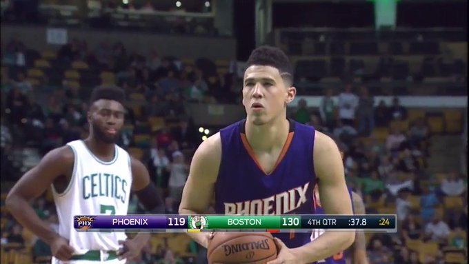 Book it  70 points 8 rebounds 6 assists 3 steals  Take a bow, @DevinBook