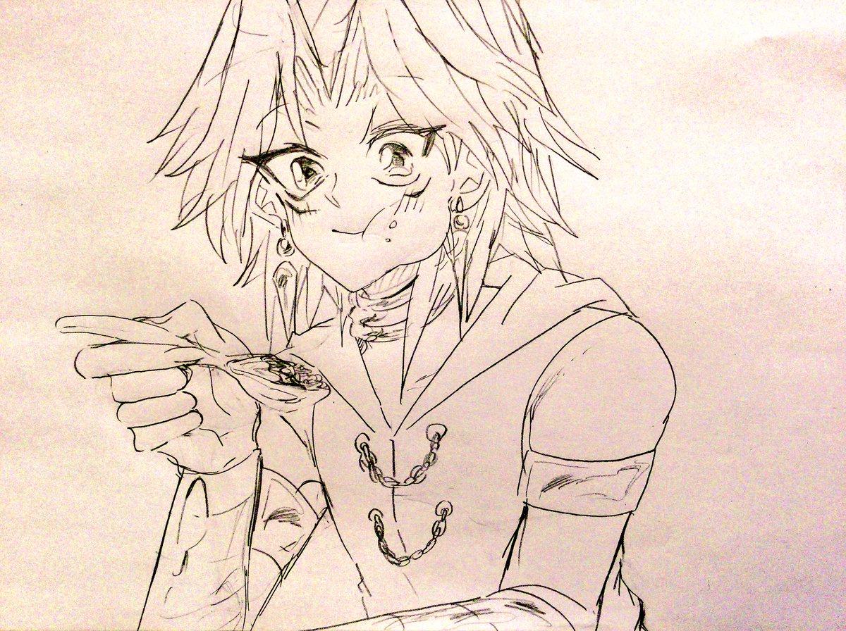 食戟のソーマとか青の祓魔師(のオムライス)見てると何か食べてる絵を描きたくなって