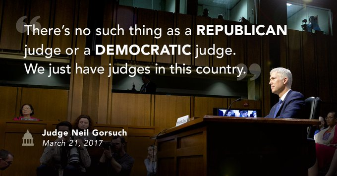 'There's no such thing as a Republican judge or a Democratic judge. We just have judges in this country.' – @GorsuchFacts #ConfirmGorsuch