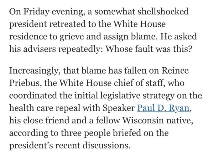 In public, Trump blamed the health-care bill's failure on Democrats. Privately, he tried to find someone to blame https://t.co/fge35pgB6D