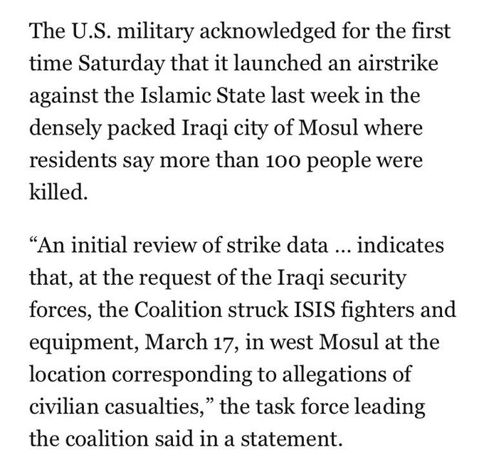 There's been a surge in reports of people dying in U.S.-led airstrikes recently. Today, the military confirmed this: https://t.co/wrqUXye0HI