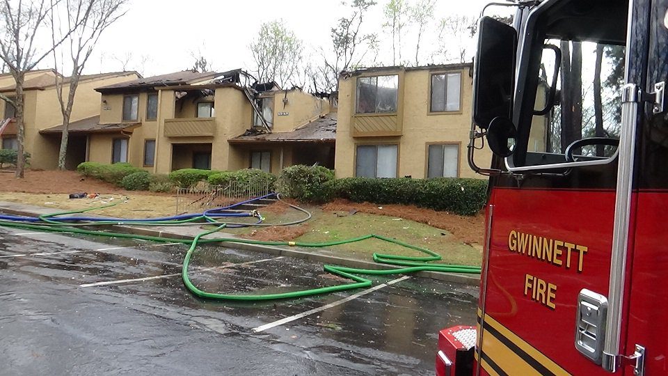 Gwinnett Firefighters give us a closer look at the damage at the Las Palmas Apartments. No one injured. Cause under investigation. #fox5atl