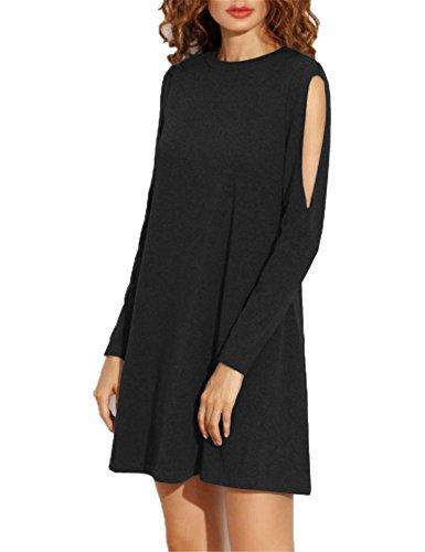 #fashion #free #style #win #giveaway Haola Women's Fall Shoulder Off Long Sleeve T-shirt Dress Basic Shift Dress L Black #rt