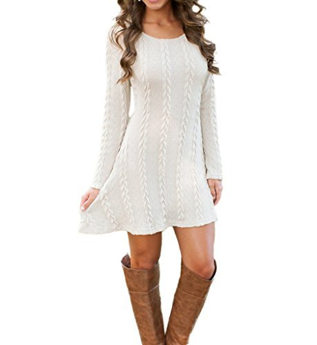 #fashion #free #style #win #giveaway Mansy Womens Knitted Crewneck Sweater Dress White Small #rt