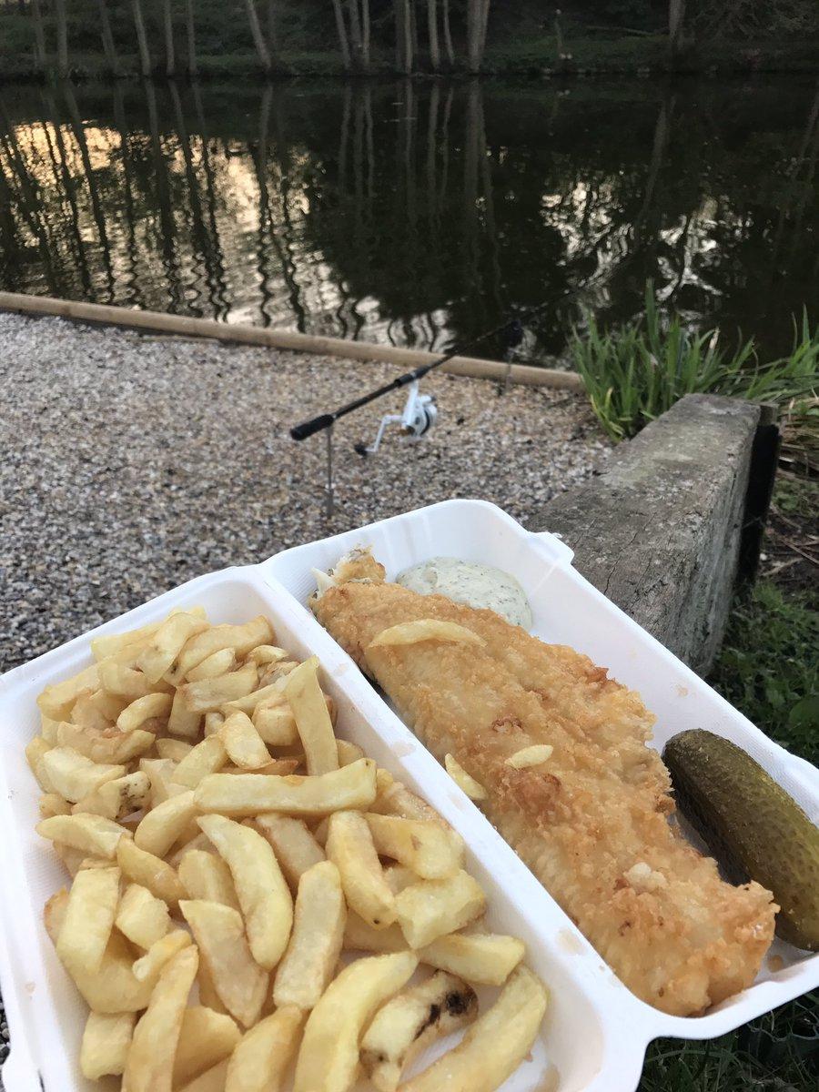 Friday nite Fish N Chips by the lake - don't get much better #carpfishing #FridayFeeling #FishFriday