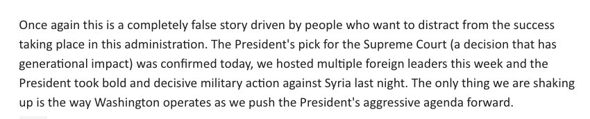 NEW: Statement from WH spox @LWalters45 denying shake-up reports https://t.co/CnXaNhY8en