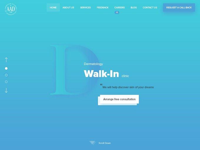 First screen of the Dermatology Website   Template by Yaroslav Zhmikhov freebie
