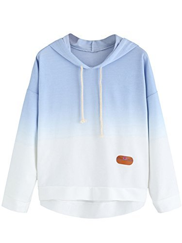#fashion #free #style #win #giveaway SweatyRocks Sweatshirt Women Pullover Hoodie Cotton Shirt Blue Ombre,Large,Blue Ombre #rt
